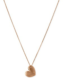 "Gold-Tone Heart Pendant Necklace, 18"" + 2"" extender"