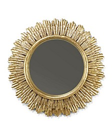 "Grand Soleil Antiqued Gold Leaf Hand-Carved 35"" Wall Mirror - Mango Wood/Glass/MDF"