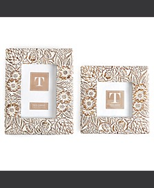 "Blooming Set of 2 Floral Pattern Photo Frames Includes 2 Sizes: 4"" x 4"" and 4"" x 6"" (stands horizontally/vertically) - Resin"