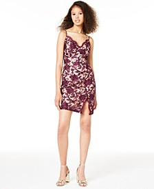 Juniors' V-Neck Allover Floral Dress