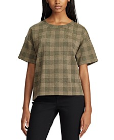 Petite Glen Plaid-Print Button-Trim Top