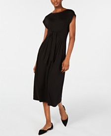 Eileen Fisher Tie-Waist Midi Dress