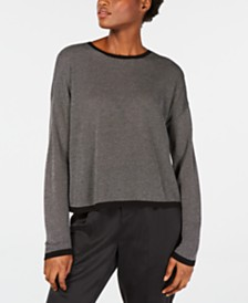 Eileen Fisher Contrast-Trim Crewneck Sweater