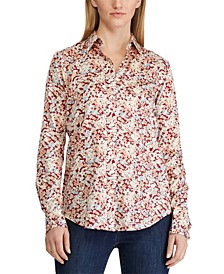 Petite Floral-Print Cotton Sateen Shirt