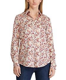 Lauren Ralph Lauren Petite Floral-Print Cotton Sateen Shirt