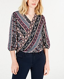 Printed Blouson-Sleeve Top