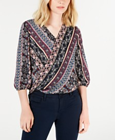 BCX Printed Blouson-Sleeve Top