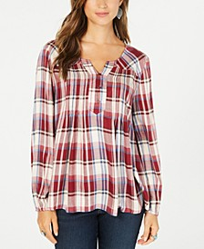 Plaid Split-Neck Top, Created for Macy's