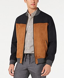Men's Colorblocked Faux Mixed Media Bomber Jacket, Created for Macy's