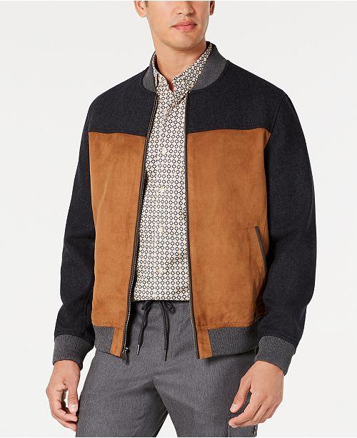 Tasso Elba Men's Colorblocked Faux Mixed Media Bomber Jacket, Created for Macy's