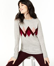 Charter Club Cashmere Argyle Sweater, Created for Macy's