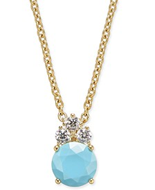 """Danori Gold-Tone Stone & Crystal Pendant Necklace, 16"""" + 1"""" extender, Created For Macy's"""