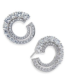 Danori Cubic Zirconia Frontal Hoop Earrings, Created for Macy's