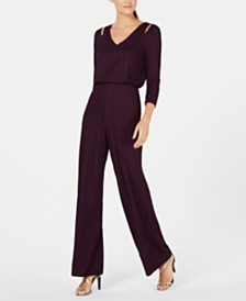 Calvin Klein V-Neck Split-Shoulder Jumpsuit