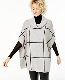 Charter Club Cashmere Windowpane Poncho, Created for Macy's