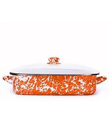 Golden Rabbit Orange Swirl Collection 10.5 Quart Roasting Pan