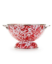 Red Swirl Enamelware Collection 2 Quart Colander
