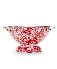Golden Rabbit Red Swirl Enamelware Collection 2 Quart Colander