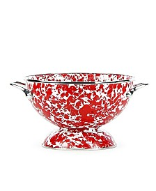 Golden Rabbit Red Swirl Enamelware Collection 1.5 Quart Colander