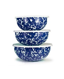 Cobalt Swirl Enamelware Collection Mixing Bowls, Set of 3