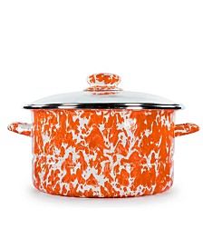 Golden Rabbit Orange Swirl Enamelware Collection 6 Quart Stock Pot