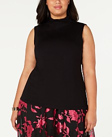 Alfani Plus Size Sleeveless Mock-Neck Top, Created for Macy's