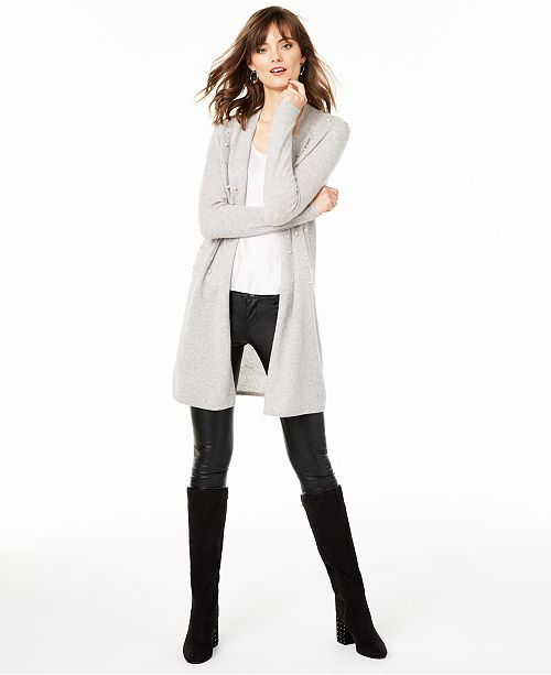 Charter Club Pure Cashmere Embellished Cardigan, Regular & Petite Sizes, Created For Macy's
