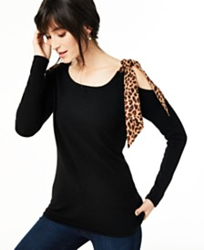 Charter Club Cashmere Cold-Shoulder Contrast-Tie Sweater, Regular & Petite, Created for Macy's