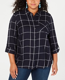 Style & Co Plus Size Cotton Plaid Button-Up Shirt, Created for Macy's