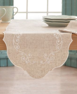 """French Perle Embroidered 70"""" Runner"""