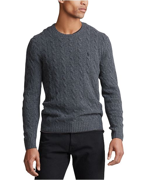 Polo Ralph Lauren Men's Big & Tall Wool Cashmere Cable-Knit Sweater