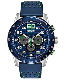 Eco-Drive Men's Chronograph Primo Blue Leather Strap Watch 44mm