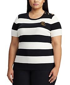 Plus Size Stripe-Print Short-Sleeve Sweater