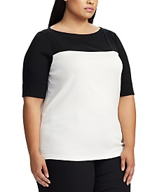 Lauren Ralph Lauren Plus Size Colorblock Boat-Neck Top