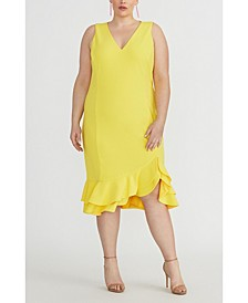Plus Size Ruffle-Hem Sheath Dress