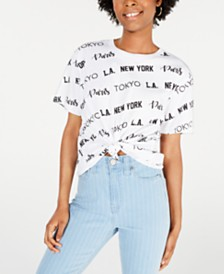 Rebellious One Juniors' Cotton Cities Graphic T-Shirt