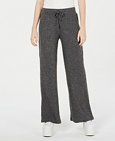 Juniors' Ribbed Wide-Leg Soft Pants