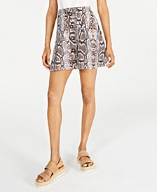 Juniors' Snake-Embossed A-Line Skirt
