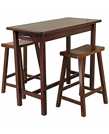 Sally 3-Piece Breakfast Table Set with 2 Saddle Seat Stools