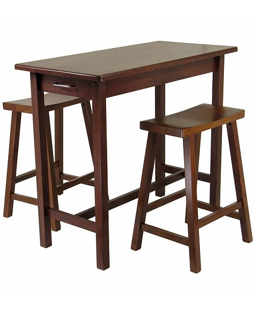 Winsome Sally 3-Piece Breakfast Table Set with 2 Saddle Seat Stools