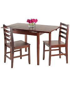 Winsome Wood Pulman 3-Piece Set Extension Table with 2 Ladder Back Chairs