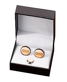 Lillian Rose Groom Wood Cufflinks and Tie Tack Set