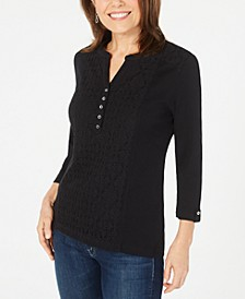 Petite Eyelet-Front Cotton Henley Top, Created for Macy's