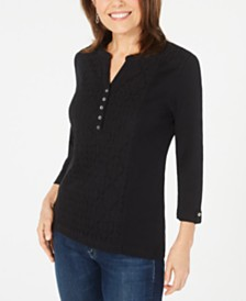 Karen Scott Petite Eyelet-Front Cotton Henley Top, Created for Macy's