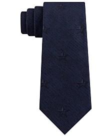 DKNY Men's Slim Broken Stripe Star-Print Tie