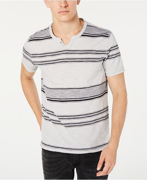 INC International Concepts INC Men's Stripe Split-Neck T-Shirt, Created for Macy's