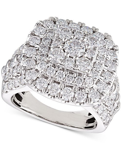 Macy's Diamond Cluster Cushion Engagement Ring (4 ct. t.w.) in 14k White Gold
