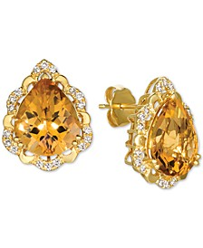 Cinnamon Citrine (6 ct. t.w.) & Nude Diamonds (1/4 ct. t.w.) Stud Earrings in 14k Gold