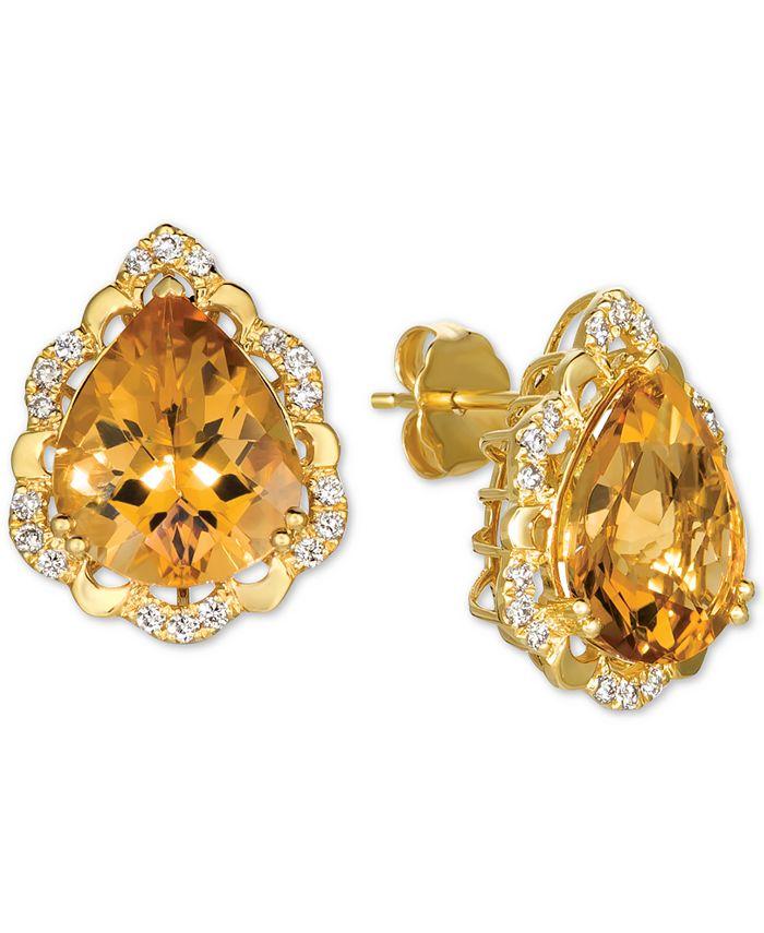 Le Vian - Cinnamon Citrine (6 ct. t.w.) & Nude Diamonds (1/4 ct. t.w.) Stud Earrings in 14k Gold
