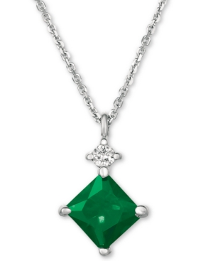 """Emerald (5/8 ct. t.w.) and Diamond Accent 16"""" Pendant Necklace in 14k White Gold"""